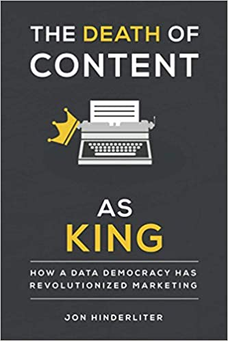 The Death of Content as King black book cover with typewriter wearing tilted crown