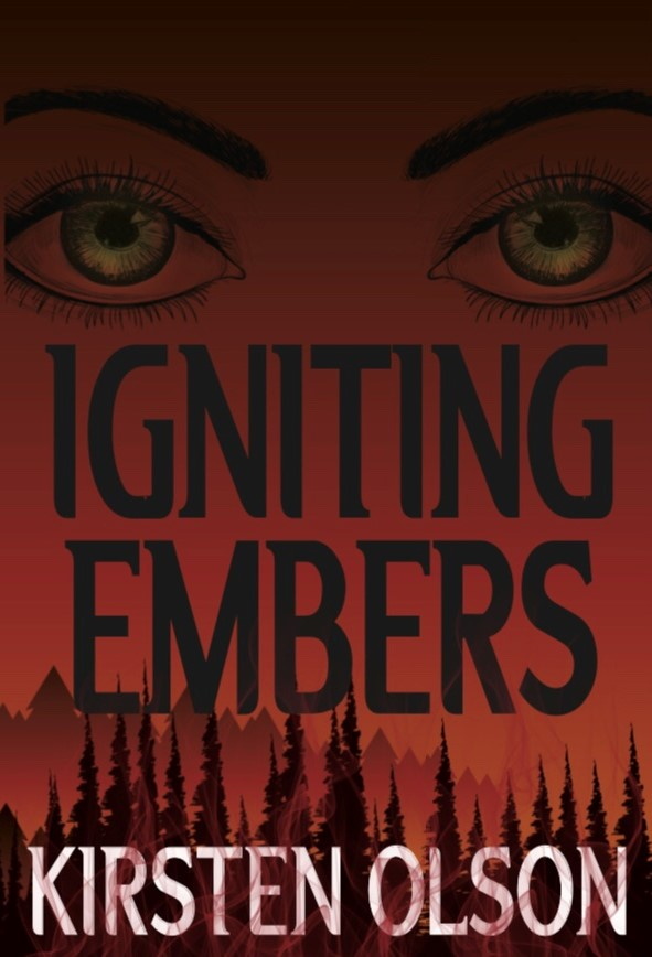 Igniting Embers book cover with red background, a tree line, and cat eyes